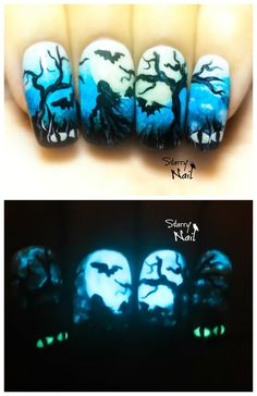 """Top 16 Nail Design With Halloween """"Glow In Dark"""" Trend – Best New Home Manicure - Homemade Ideas (11)"""