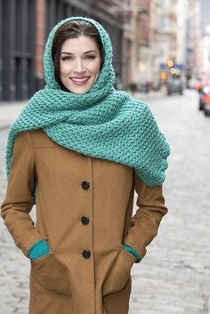 """""""Combine an interesting stitch pattern with a longer length for a stunning wrap! Wear it as a shawl, a long scarf or wrapped around your head when you need extra warmth. Crochet Shawls And Wraps, Crochet Poncho, Crochet Scarves, Crochet Hats, Knit Hat Pattern Easy, Wrap Pattern, Red Heart Patterns, Hat Patterns, Loom Scarf"""