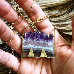 Sliced Amethyst Pendant / Natural Stone Pendant by AURAVEDASF on Etsy