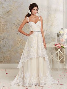 Alfred Angelo Bridal Style 8535 from Modern Vintage Bridal Gowns. This delicately romantic lace wedding dress features a tiered hi-low hemline and detachable, full-length skirt. Retro-inspired moonstone style beading accents the natural waistline. Vintage Style Wedding Dresses, Two Piece Wedding Dress, 2016 Wedding Dresses, Country Wedding Dresses, Vintage Bridal, Cheap Wedding Dress, Wedding Dress Styles, Designer Wedding Dresses, Bridal Style