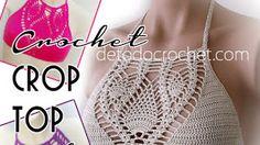 Top Crop Tejido En Crochet, Tops A Crochet, Crochet Gratis, Halter Bikini, Crochet Bikini, Crop Tops, Swimwear, Women, Club