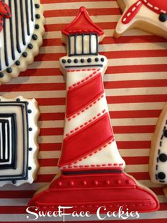Fancy lighthouse cookie from SweetFace Cookies. Crazy Cookies, Iced Cookies, Cute Cookies, Cupcake Cookies, Cookie Frosting, Royal Icing Cookies, Davids Cookies, Nautical Cake, Fancy Cupcakes