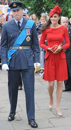 """William wore his Flight Lieutenant No. 1 dress uniform with blue garter sash on June 3. """"William walked a step or two in front of her the whole time,"""" an onlooker told Us of Kate. """"She looked gorgeous in red -- really slim and healthy looking."""""""
