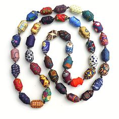 Rolled beads (printed silk from ties)