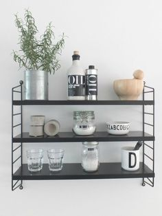 [Wandregal] ↠ One shelf, 3 styling ideas – for kitchen, bathroom and living room! - Do it yourself decoration Kitchen Interior, Scandinavian Living, Plate Shelves, Room Shelves, Living Room Shelves, Kitchen, Beach Wall Decor, Kitchen Shelves, Shelving