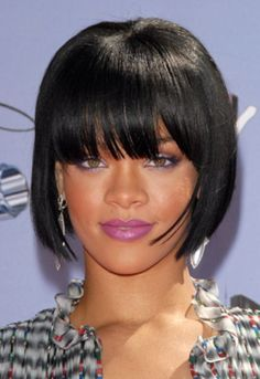 Rihanna short blunt bob hairstyle