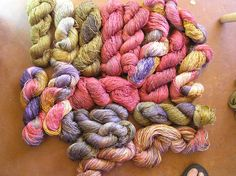 Natural dyed bamboo/wool skeins