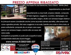 Prezzo Appena Ribassato Bitritto, Via Padre Pio da Pietrelcina (Parco Eliana – Palatour) Appartamento Pentavani su due livelli  www.remax.it/20031050-537 info 348 7340665