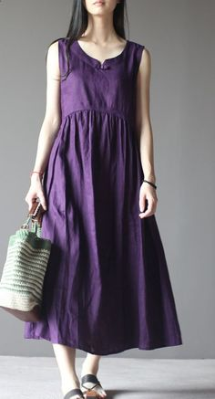 Violet linen sundress sleeveless summer dress plus size maxi dressesThis dress is made of cotton linen fabric, soft and breathy, suitable for summer, so loose dresses to make you comfortable all the time.Measurement: Size S length & Plus Size Maxi Dresses, Cheap Dresses, Loose Dresses, Flowing Dresses, Vintage Dresses Online, Modelos Plus Size, Maxi Robes, Pleated Maxi, Casual Summer Dresses