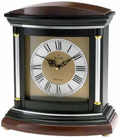 Bulova Hanover Mantel Clock. Beautiful classically designed clock. Solid wood case, satin black finish.