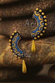 Terracotta Jewellery Making, Terracotta Jewellery Designs, Terracotta Earrings, Polymer Clay Kunst, Polymer Clay Earrings, Thread Jewellery, Fabric Jewelry, Teracotta Jewellery, Biscuit