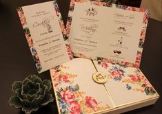 Its a chintz affair! <3 the small illustrations of the love birds/cocktails by @MystikosCollection #indianwedding #invitation #ideas #chintz | Curated by #WittyVows - The ultimate guide for the Indian Bride | www.wittyvows.com