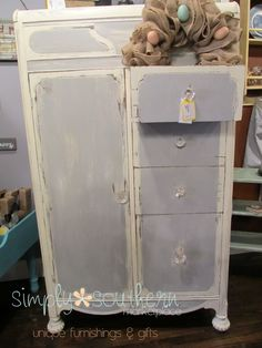 Chalk Painted Antique Wardrobe #simplysouthernmarketplace