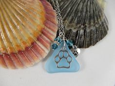 pet memorial necklace, heart paw print necklace, blue sea glass necklace with charms, her ocean beach necklace,  pet necklaces for women by Serenebaysidejewelry on Etsy