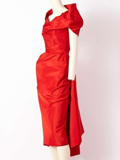 View this item and discover similar cocktail dresses for sale at - Charles James, ca. 1950 Dinner Dress, often referred to as the Spiral Dress Red silk faille Extremely rare example Like a red-hot cyclone, a spiral emanates Charles James, Vestidos Vintage, Vintage Dresses, Vintage Outfits, Vintage Clothing, Look Fashion, Timeless Fashion, Fashion Outfits, Fashion Women