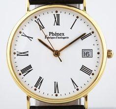14k Men's Yellow Gold Phénex Quartz Watch w/ Date Feature & Black Leather Band #Phnex #Dress