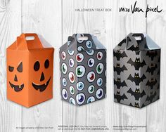 Halloween Party Treat box Printable Pack of 3 by MissVanPixel