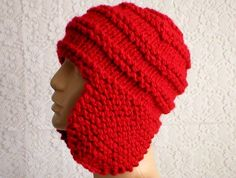 4f72e60e6e2 Red ear flap hat trapper cap mens womens winter hat mens womens knit red hat  red chemo cap red beanie hat hat with flaps red toque toboggan