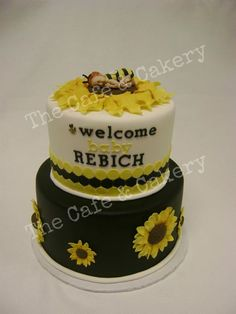 Sunflower Baby Shower Cake   Bee, Black, White, Yellow, Stripes, Flowers