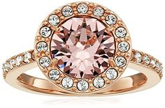 Rose Gold Plated Sterling Silver Swarovski Elements Crystal Morganite Round Halo Ring Size 7 -- You can get additional details at the image link.Note:It is affiliate link to Amazon.