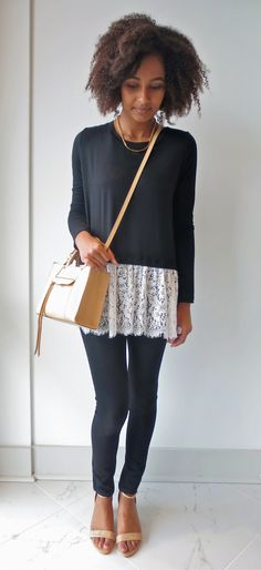 We're all about #modern #lace on the #blog today. See how we sweeten up this look with this #fall #fifteentwenty black knit top! #fcstyle #frenchcuff #ootd #fashionflash