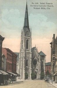 """St. Francis de Sales in East Walnut Hills, a middle German and French Gothic style church, was completed in 1879. When the the 35,000-pound bell (""""Big Joe"""") was first wrung it could be heard throughout a 15-mile radius. It rattled buildings and shattered windows!"""