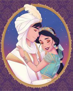 Princess Jasmine and Aladdin as Prince Ali's romantic loving embrace hug from Disney's live action movie, Aladdin