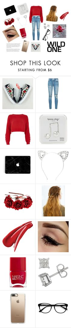"""""""Red❤️❤️"""" by hollo-amazing ❤ liked on Polyvore featuring Mother, River Island, Happy Plugs, Charlotte Russe, WithChic, Nails Inc., Casetify and EyeBuyDirect.com"""