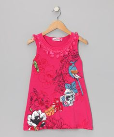 Take a look at this Hot Pink Glitter Floral Dress - Girls by Zoe on #zulily today!