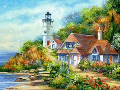 Lovely Ocean side cottage & light house print....