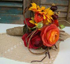 Fall Wedding Bridal Bouquet Ranunculus Orange Red by TwiningVines Fall Bouquets, Fall Wedding Bouquets, Fall Wedding Flowers, Sunflower Bouquets, Bridesmaid Bouquet, Bridal Bouquets, Bridesmaids, Rustic Wedding Favors, Wedding Favor Bags