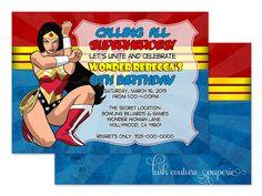 Wonder Woman Birthday Invitations