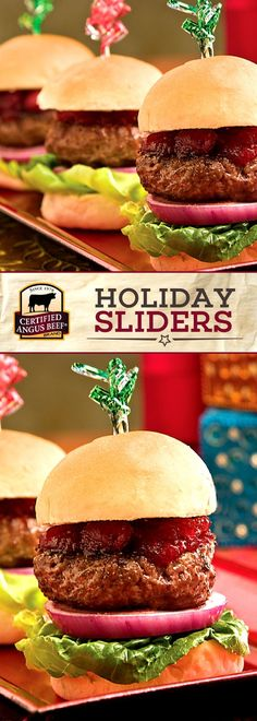 Certified Angus Beef ®️️️️️️️️️️️️️️️️️ brand SLIDER piled high with sweet cranberry relish will be the STAR of all your holiday parties and game day gatherings! Everyone will love the unique flavors in this HOLIDAY SLIDER recipe! Serve this EASY burger recipe as a party appetizer, easy football food, or a fun dinner any night of the week!,