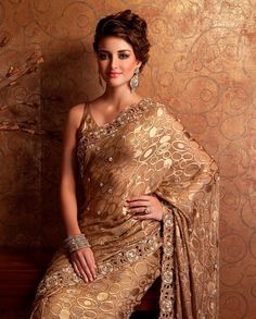 Gorgeous Golden Net Sari, a classy pick from Meena Bazaar Indian Attire, Indian Wear, Indian Outfits, Indian Clothes, Indian Style, Medieval Dress, Medieval Clothing, Meena Bazaar, Kosem Sultan