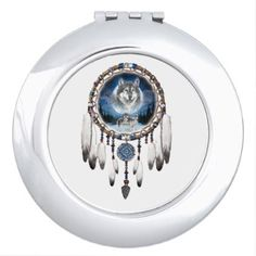 Dream Catcher with wolf background Compact Mirror - pattern sample design template diy cyo customize