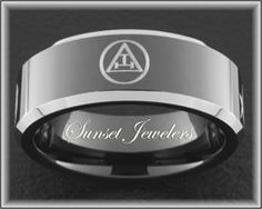 Freemason Black Tungsten Ring with Masonic Royal Arch Emblem.  FREE Inside engraving!  Sizes: 5, 5.5, 6, 6.5, 7, 7.5, 8, 8.5, 9, 9.5, 10, 10.5, 11, 11.5, 12, 12.5, 13, 13.5, 14, 14.5, 15 www.Sunsetjewelers.com