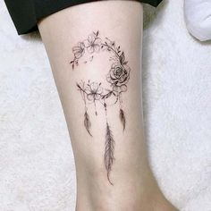 Floral Dream Catcher Tattoo Idea tattoos for women 43 Beautiful Flower Tattoos for Women Mini Tattoos, Cute Tattoos, Unique Tattoos, Small Tattoos, Dainty Tattoos For Women, Anklet Tattoos For Women, Beautiful Tattoos For Women, Tattoo Women, Awesome Tattoos