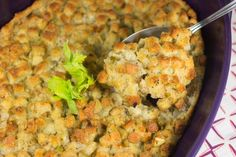 Just Like Mom's Old Fashioned Stuffing recipe.  Darcy777 - Serves 10-12 in a 9x13 pan, can be halved and baked in brownie pan.