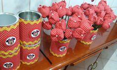 Latas de leite tulipas de tecido  flor de tecido latas decoradas minnie vermelha