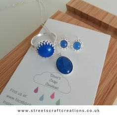 This beautiful set was a custom creation for a wonderful customer of mine. She loved the Blue Onyx and its bold colour against the sterling silver settings. Pop over to see more of the custom requests I have made. Moonstone Earrings, Faux Pearl Necklace, Feather Necklaces, Steampunk Necklace, Jewelry Making, Gift Ideas, Colour, Gemstones, Pop