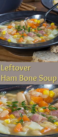 If you're serving a big bone-in ham for the holidays and are looking for a great way to use up the leftovers, then you'll love this recipe for Leftover Ham Bone Soup. This hot and hearty soup is made with lots of veggies, beans, corn, a few spices, and, of course...your leftover ham! You can bet that they'll be leaving their bowls clean.
