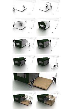 Modelo sueco de casa de madera prefabricada de 15 m2, de KIT con embalaje plano y fácil montaje. Incluye ventanas, instalación eléctrica, y terraza con pérgola.