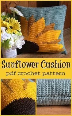 Sunflower pillow cushion cover crochet pattern Knitting ProjectsKnitting For KidsCrochet PatternsCrochet Scarf Crochet Home Decor, Crochet Crafts, Free Crochet, Knit Crochet, Crochet Birds, Crochet Food, Crochet Animals, Crotchet, Crochet Cushion Cover