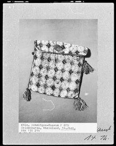 Medieval Silkwork: embroidery fragment, Schnütgen Museum, Köln. Close-up from 14th century brick stitch pouch.