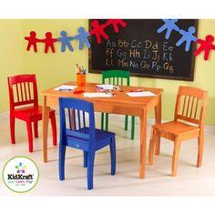 Houten kindertafel met 4 stoelen (veelkleurig) - Kidkraft