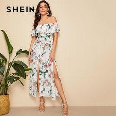 248d79108d SHEIN Boho Floral Print Split Hem Foldover Off Shoulder Maxi Dress Women  Summer Sexy Dress Beach