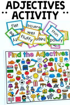Adjectives Activities, Grammar Activities, Preschool Learning Activities, Speech Therapy Activities, Nouns And Adjectives, Preschool Activities, Reading Games For Kindergarten, Education And Literacy, Card Reading