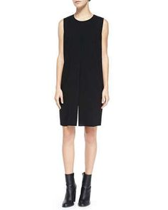 Flyaway-Front Crepe Dress, Black/Ivory by Vince at Neiman Marcus.
