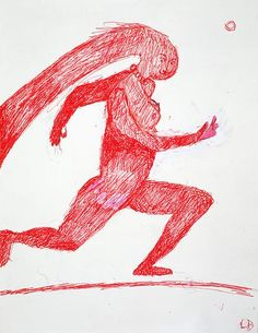 Louise Bourgeois, Naked Jogging, 1996 — Red ink on paper, x cm. Louise Bourgeois, Abstract Sculpture, Sculpture Art, Metal Sculptures, Bronze Sculpture, Art Brut, Art Walk, Collage, American Artists