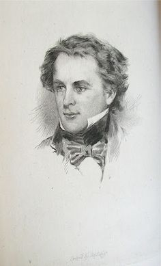 """Portrait of Nathaniel Hawthorne at age thirty-six, etched by S.A. Schoff, after an 1840 portrait painted by Charles Osgood, published in """"Nathaniel Hawthorne and his Wife, a Biography"""", Hawthorne, Julian. (Vol. 2), 1884. Charles Osgood, Nathaniel Hawthorne, Biography, Vignettes, 19th Century, Original Art, At Least, Portraits, Illustration"""